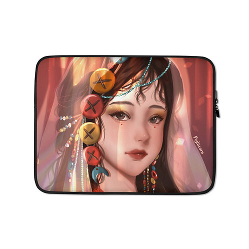 """Laptop sleeve """"Button Girl"""" by Pigliicorn"""