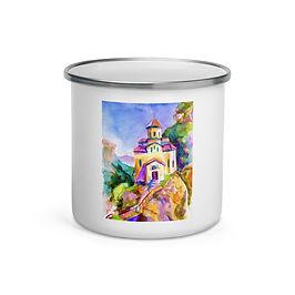 """Enamel Mug """"Brightside Temple"""" by Solar-sea"""