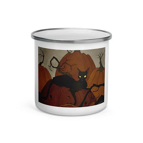 "Enamel Mug ""Black Cat"" by ""AbigailLarson"""
