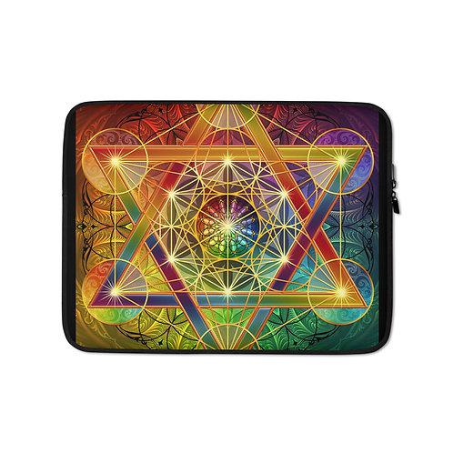 "Laptop sleeve ""Rainbow Metatron's Cube"" by Lilyas"