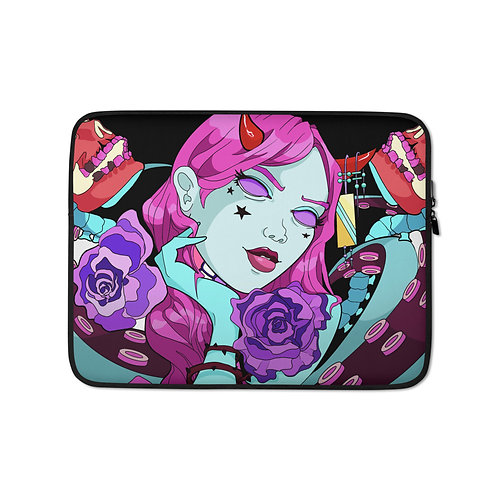 """Laptop sleeve """"Skulls and Flowers"""" by MoxxiMonroe"""