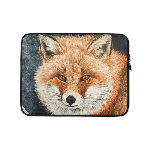 """Laptop sleeve """"Red Fox Fire and Frost"""" by Beckykidus"""