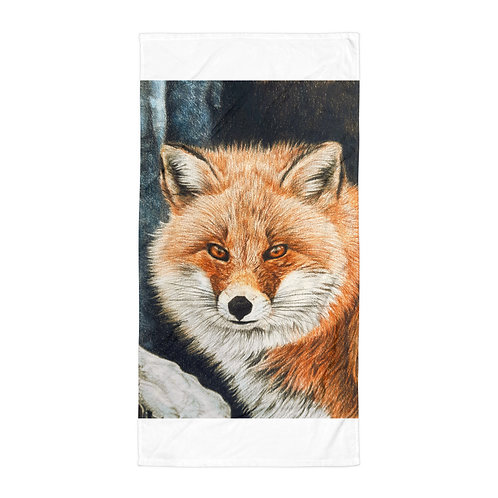 """Beach Towel """"Red Fox Fire and Frost"""" by Beckykidus"""