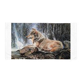 "Beach Towel ""Wolf Waterfall"" by Beckykidus"
