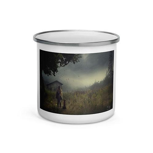 "Enamel Mug ""The Lake Cabin"" by Elysekh"