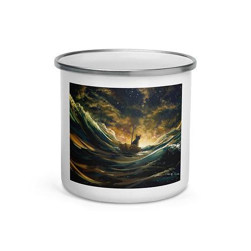 """Enamel Mug """"Lost At Sea 2.0"""" by Hymnodi"""