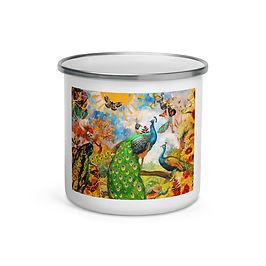 "Enamel Mug ""Peacock Garden"" by ""phatpuppyart-studios"""