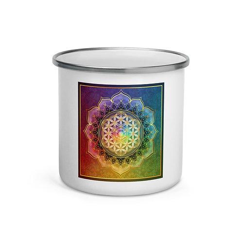 """Enamel Mug """"Rainbow Flower of Life"""" by """"Lilyas"""""""