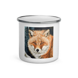 """Enamel Mug """"Red Fox Fire and Frost"""" by Beckykidus"""