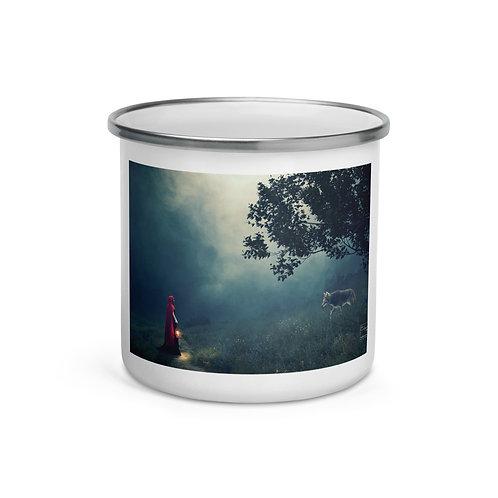 """Enamel Mug """"Meeting in the Fog"""" by Elysekh"""