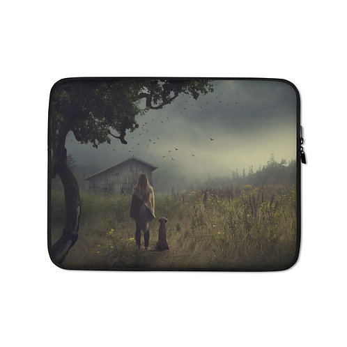 """Laptop sleeve """"The Lake Cabin"""" by Elysekh"""