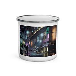 """Enamel Mug """"Cyberpunk City"""" by Hymnodi"""