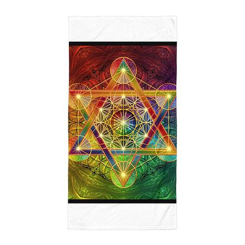 "Beach Towel ""Rainbow Metatron's Cube"" by ""Lilyas"""