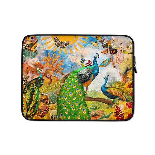 "Laptop sleeve ""Peacock Garden"" by Phatpuppyart-studios"