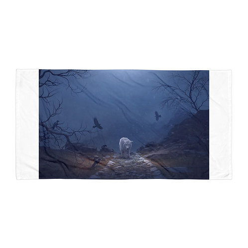 """Beach Towel """"The Hill of the Ravens"""" by Elysekh"""