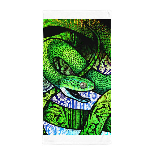 "Beach Towel ""Green Cat Snake"" by ""Culpeo-Fox"""
