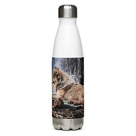 """Water Bottle """"Wolf Waterfall"""" by Beckykidus"""