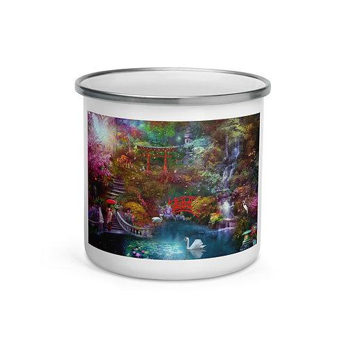 """Enamel Mug """"My Japanese Garden"""" by """"phatpuppyart-studios"""""""