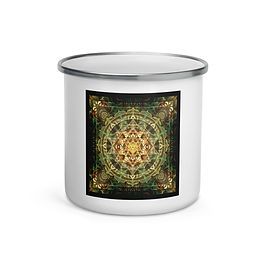 "Enamel Mug ""Sri Yantra Healing Mandala"" by ""Lilyas"""