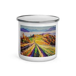 "Enamel Mug ""Autumn Morning"" by ""Gudzart"""
