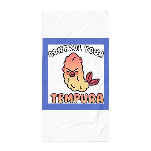"""Beach Towel """"Tempura Tantrum"""" by Rezabisuto"""