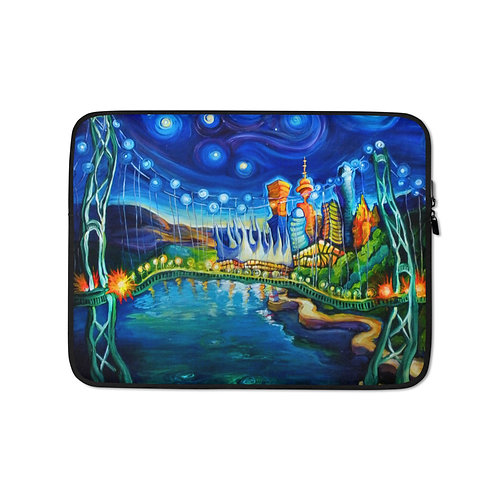 """Laptop sleeve """"Lions Gate Night Out"""" by LauraZee"""