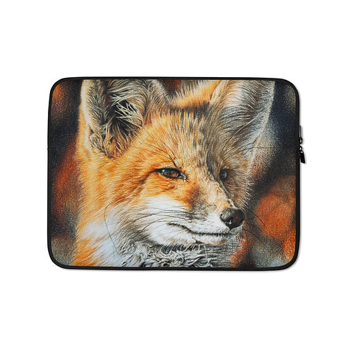 """Laptop sleeve """"Bright Side of the Red Fox"""" by Beckykidus"""