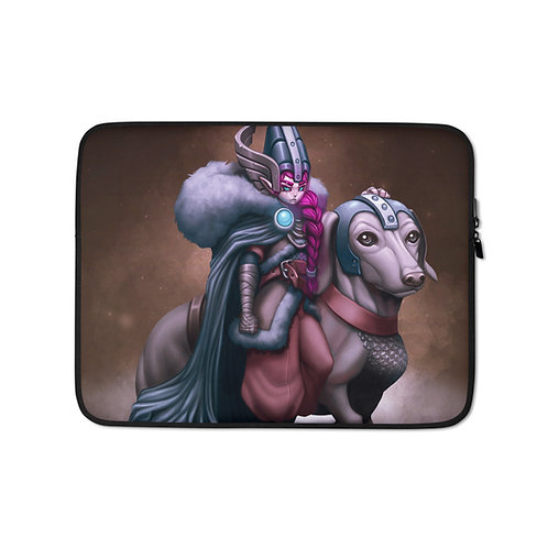 """Laptop sleeve """"Viking Gnome and Warg Wiener"""" by DasGnomo"""