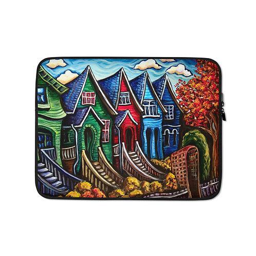 """Laptop sleeve """"Kitsilano Neighbourhood"""" by LauraZee"""