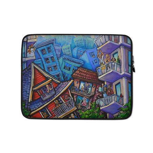 """Laptop sleeve """"7pm Cheers"""" by LauraZee"""