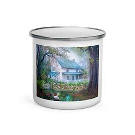 "Enamel Mug ""Country Cottage"" by ""phatpuppyart-studios"""