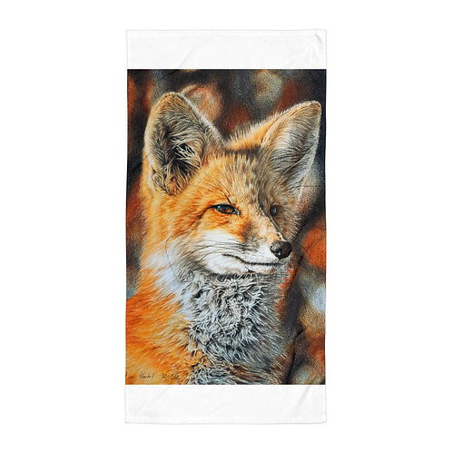 """Beach Towel """"Bright Side of the Red Fox"""" by Beckykidus"""
