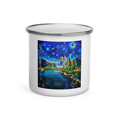 """Enamel Mug """"Lions Gate Night Out"""" by """"LauraZee"""""""
