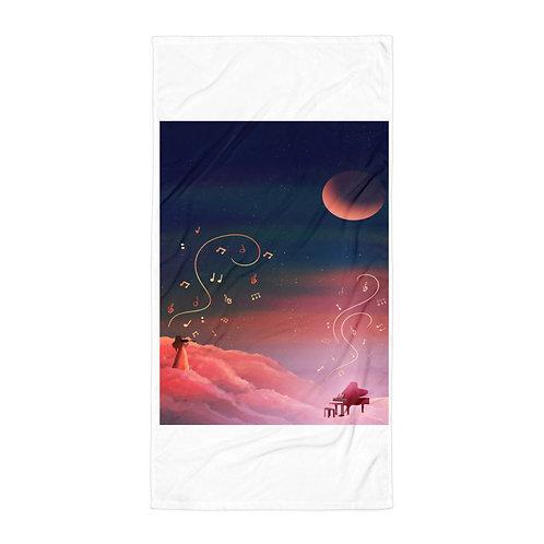 "Beach Towel ""Clouded with Music"" by Saddielynn"