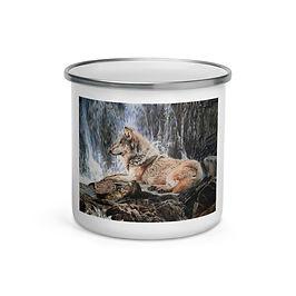 "Enamel Mug ""Wolf Waterfall"" by Beckykidus"