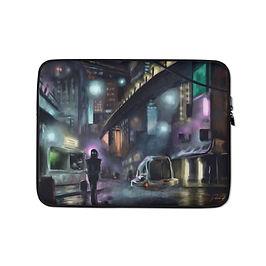 "Laptop sleeve ""Cyberpunk City"" by Hymnodi"