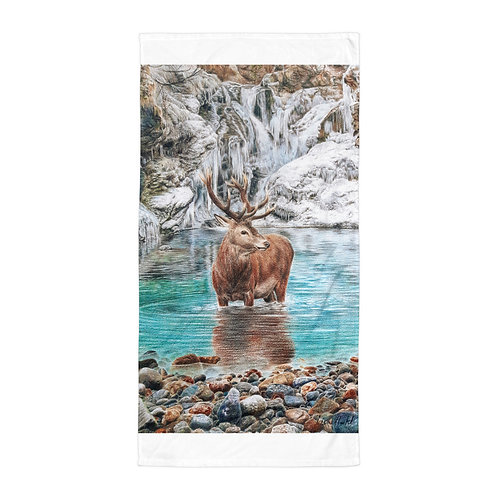 """Beach Towel """"The Freezing Stag"""" by Beckykidus"""
