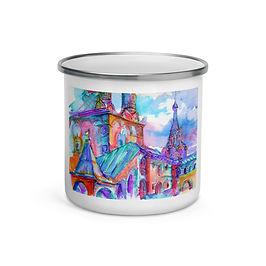 "Enamel Mug ""Caramelle Architecture"" by Solar-sea"