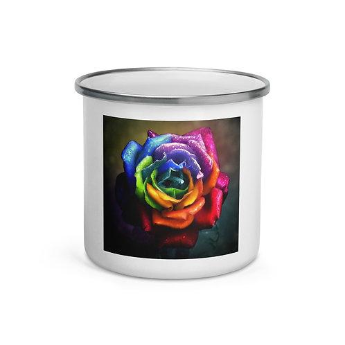 """Enamel Mug """"Rainbow Dream Rose"""" by """"Lilyas"""""""
