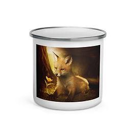 "Enamel Mug ""Little Fox and the flowers"" by ""ElenaDudina"""