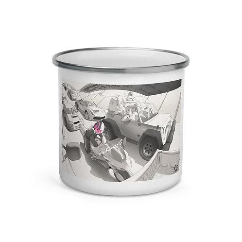 """Enamel Mug """"Traffic"""" by Ccayco"""