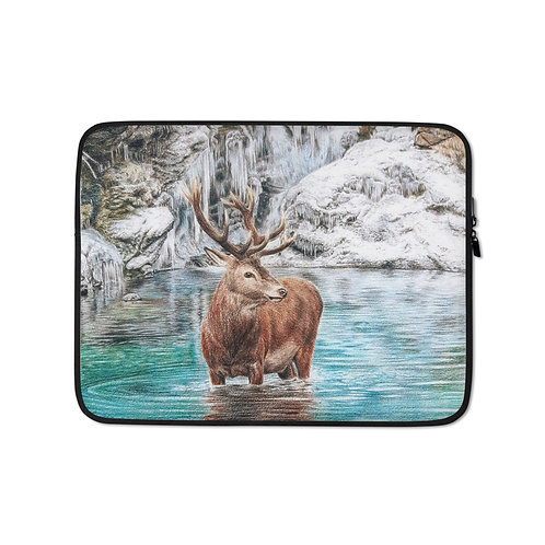 """Laptop sleeve """"The Freezing Stag"""" by Beckykidus"""