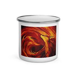"""Enamel Mug """"Fires Embrace"""" by """"Culpeo-Fox"""""""