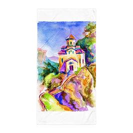 "Beach Towel ""Brightside Temple"" by Solar-sea"