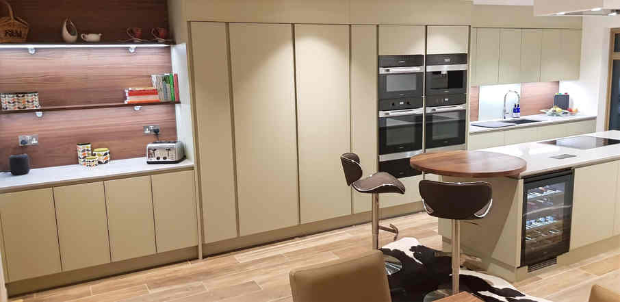 Walnut and Lacquered Modern Kitchen