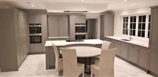Modern Shaker with Round Table Kitchen