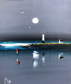 Phare Breton au clair de lune 60x73