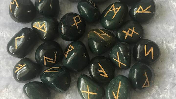 Indian Bloodstone Runes and Pouch