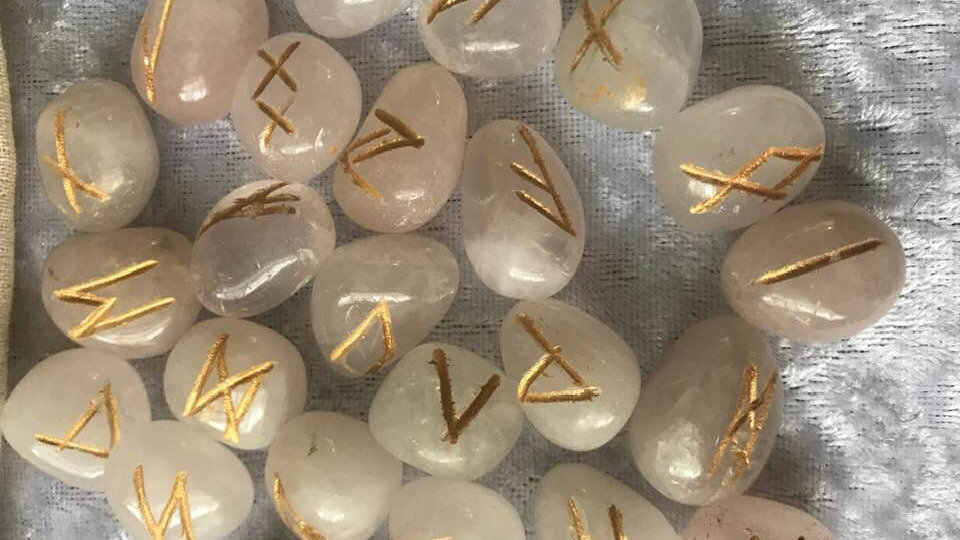 Indian Rose Quartz Runes and Pouch