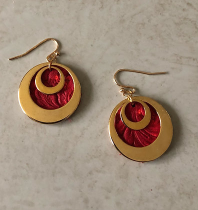 Gold Layered Hoops with Red Faux Leather back.
